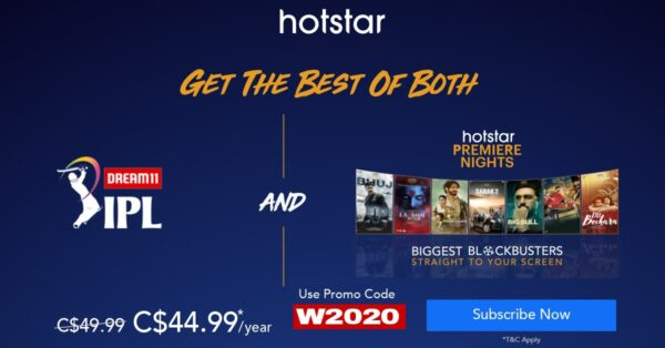 Hotstar Canada Annual Subscription offers only at C$ 44.99